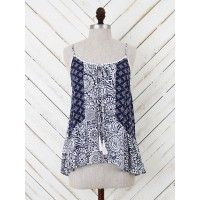 This cool printed tank is terrific. Its tassel tie and fun trim top it off with great vision. Style it with some summer shorts and strappy sandals for an adventurous day.   Loose   Sleeveless   Self: 100% rayon; lace; 100% cotton
