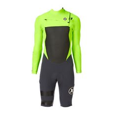 Hurley Wetsuits - Hurley Fusion 2mm Chest Zip Long Sleeve Shorty Wetsuit - Flash Lime