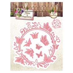 Die de découpe StudioLight Stencil Home & Happiness nr.22 Cadre Rond Papillons