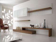 16 veces he visto estas magníficas muebles minimalistas. Tv Unit Interior Design, Tv Unit Furniture Design, Home Interior, Tv Furniture, Apartment Interior, Modern Tv Room, Modern Tv Wall Units, Modern Living, Minimalist Living