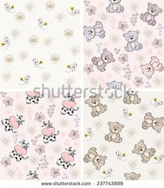 babies hand draw seamless pattern with animals