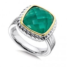 91b78334a4a Sterling Silver Green Agate and White Quartz Fusion Ring - A sparkly  sterling silver and gold cocktail ring showcasing a fusion gemstone  composed of dyed ...