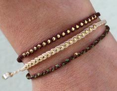 Friendship bracelet beaded bracelet- nylon cord with gold glass bead