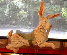 """""""Golden Age"""" Carousel Rabbits. Only the Dentzel company carved carousel rabbits in America. The other notable carousel rabbits came Gustav Bayol in France."""