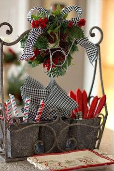 Wine Caddie can be used for utensils for Christmas party or a gift.  I like the black  white checked with red and green