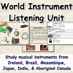 Use these resources to introduce students to musical instruments from six different countries! This is a great unit to tie into other world music studies, instruments of the orchestra, or the science of sound. Students see pictures of instruments from one of the countries, and use their knowledge of instruments to describe the instrument and predict what it will sound like ...