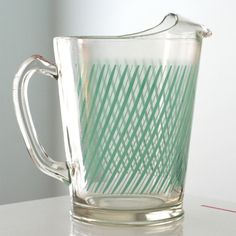vintage glass pitcher in turquoise. Vintage Dishes, Vintage Glassware, Vintage Tea, Vintage Love, Vintage Kitchen, Vintage Decor, Vintage Stuff, Glass Jug, Glass Pitchers