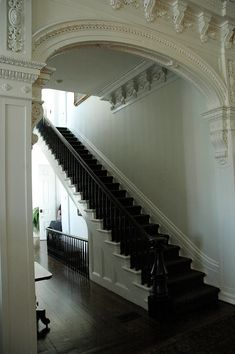 """Nottaway Plantation is probably the largest plantation manor still standing today and one of the most unique and beautiful of all the old plantation homes. It was built in 1859 for sugar tycoon John Randolph and his wife and their eleven children. The """"White Castle"""" is 3 stories tall, and boasts 53,000 square feet with 64 rooms and 6 interior staircases. The intricate detail of the molding and plaster frieze work is unparalleled."""