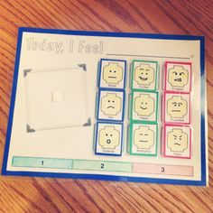 """Check out Amanda's emotion regulation chart: """"I introduced the rating scale and he picked 3 emotions for each rating category. He loves Legos so I made these cute little lego heads and drew emotion faces to match the emotion words he chose... As his understanding of how he feels increases, he can select more emotion faces to create and his scale can be expanded... oooh, grading."""""""