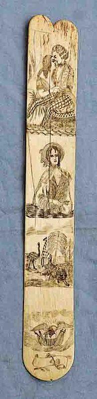 Engraved Antique Scrimshaw Whalebone Busk