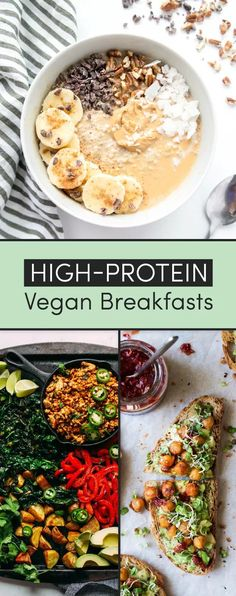 14 Protein-Packed Vegan BreakfastsYou can find Vegetarian breakfast and more on our Protein-Packed Vegan Breakfasts Healthy Breakfast Desayunos, Healthy Breakfast Recipes, Easy Healthy Recipes, High Protein Vegetarian Breakfast, Healthy Breakfasts, Vegetarian Meals, Healthy Vegan Recipes, Vegan Recipes Healthy Clean Eating, Vegan Breakfast Casserole