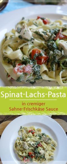 Spinach Salmon Pasta in creamy cream cheese sauce by hartmut_imhaeuser Spinach Noodles, Cream Cheese Sauce, Salmon Pasta, Salmon Sauce, Food F, Creamed Spinach, Tasty, Yummy Food, Creamy Sauce