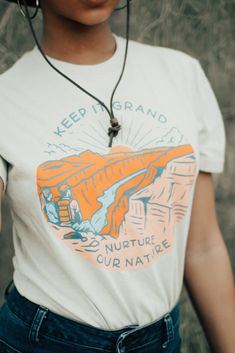 The Grand Canyon - one of our favorite places in Arizona, so we made a graphic tee! Keep it Grand / Nurture Our Nature ✨ Basic Outfits, Summer Outfits, Shirts For Teens, T Shirts For Women, Shirt Outfit, Tee Shirt, Graphic Shirts, Tee Design, Cool T Shirts