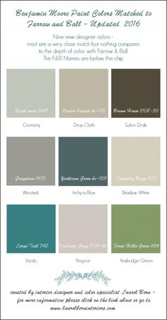 Farror & Ball Colors for 2016 -Nine New Colors Matched to Benjamin Moore Colors
