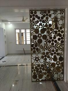 Metal art Bathroom Interior Design, Modern Interior Design, Interior Design Inspiration, Interior Decorating, Room Divider Headboard, Diy Room Divider, Metal Wall Panel, Plafond Design, Pooja Room Design