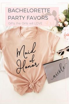 Blush Maid of Honor and Bridal Party Shirts make a cute gifts for the bachelorettes in your bridal party! Give them to your friends before a bachelorette party so the crew can travel in style! bridal party gifts, bachelorette weekend, bachelorette outfit Bachelorette Party Supplies, Bachelorette Party Shirts, Bachelorette Weekend, Wedding Party Shirts, Bride Shirts, Personalized Bridesmaid Gifts, Party Favor Bags, Maid Of Honor, Clothing Items
