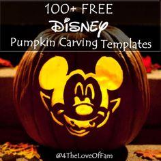 100+ FREE Disney Halloween Pumpkin Carving Stencil Templates w/ Images!  #Frozen #StarWars #Marvel  #Princesses