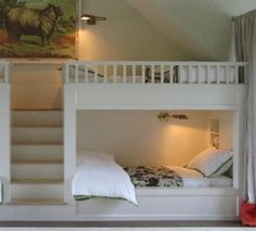 White Built in Bunk Bed Plans Home Design Ideas: Built in Bunk Bed Plans in the Bedroom Bunk Beds Small Room, Safe Bunk Beds, Double Bunk Beds, Bunk Beds Built In, Bunk Beds With Stairs, Cool Bunk Beds, Bunk Rooms, Twin Bunk Beds, Kids Bunk Beds