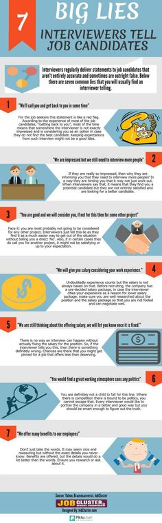 infographic : infographic : 7 Lies Every Job Interviewer Uses And What They Really Mean