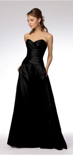 Black bridesmaid dress with pockets...this is perfect.                                                                                                                                                                                 More