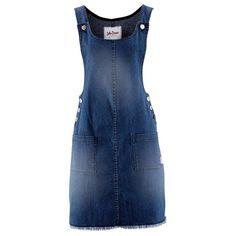 Jardineira jeans com stretch azul sem mangas