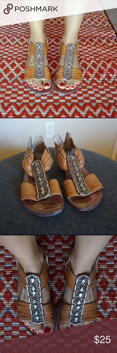 Sam Edelman sandals Size 5 These Sam Edelman leather sandals are comfortable and stylish. I wear a 5.5, and these size 5 fit perfect. The stones are all intact and the buttery leather is really comfortable. The shoes have a back zipper. The soles have some wear, but the heel part is not worn at all. Sam Edelman Shoes Sandals