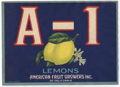 A-1 Vintage Lemon Crate Label, Citrus