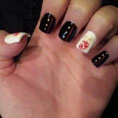 My nails for babes graduation :) Usmc Nails, Marine Nails, Marine Sister, Grad Parties, Cute Nails, Manicure, Nail Art, Semper Fidelis, Beauty