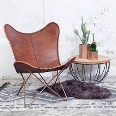 Vlinderstoel Bruin   Koper Frame