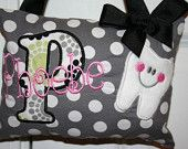 Boutique Custom Personalized Tooth Fairy Pillow.  Awesome.  Didn't know these even existed.