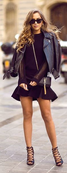 #street #style black everything + leather YSL @wachabuy