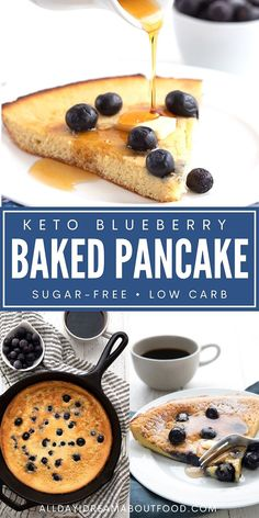 This deep dish keto blueberry pancake is going to become your favorite healthy breakfast of the new year! Easy to make and bursting with juicy blueberries. Healthy Breakfast Options, Low Carb Breakfast, Breakfast Recipes, Dessert Recipes, Breakfast Ideas, Baked Pancakes, Blueberry Pancakes, Keto Pancakes, Low Carb Bread
