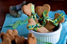 Peanut butter dog treat recipe. Made these, and my dog absolutely couldn't get enough of them!