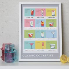 A print covered with the recipes for 12 classic cocktails (so you never forget how to make 'em). | 31 Awesome And Inexpensive Things You Need For Your Kitchen