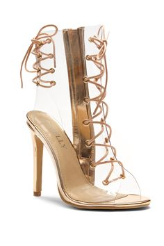 990b6fcf68ed0 HerStyle Veronnicca Lace Up Perspex Peep Toe Stiletto Boots (Clear Rose Gold )