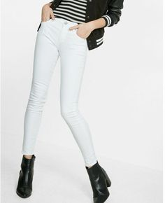 Express white mid rise stretch jean leggings