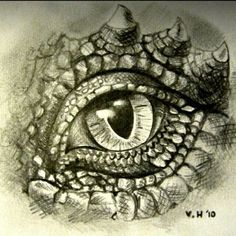 Graphite pencil drawing- dragon& eye Artist: Victoria Highet by delores, Dragon Eye Drawing, Realistic Eye Drawing, Dragon Sketch, Dragon Art, Dragon Drawings, Drawing Eyes, Fantasy Creatures, Mythical Creatures, Cool Drawings