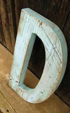 "S & B Barn Wood Letter Painted Distressed 12"" - Sea Kiss Blue - Shabby Cottage Chic Style via Etsy"