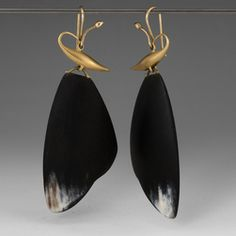 Carved horn moth wing earrings by Gabriella Kiss