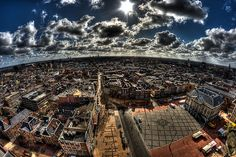 "Groningen. The photographer: ""For this picture I tilted my camera downwards over the edge, in order to create this somewhat distorted picture. It's a view from the Martinitoren (97m) in Groningen, the picture was taken at a height of approximately 56 meters."""