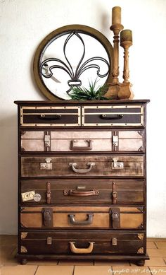 DIY Salvaged Junk Projects 379 - Suitcase dresser, macrame light cage, stenciled sign fabric, magazine tote, plus!