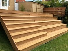 Billedresultat for træterrasse Outside Stairs, Patio Stairs, Backyard Walkway, Backyard Landscaping, Sloped Garden, Garden Pool, Terrace Garden, Terrace Design, Patio Design
