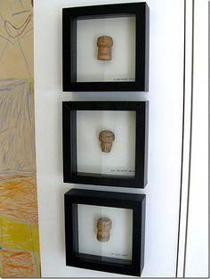 Favorite memory: Framed Corks. Frame corks from champagne bottles opened for important events in your life – wedding, births, anniversaries, etc. Great conversation piece –