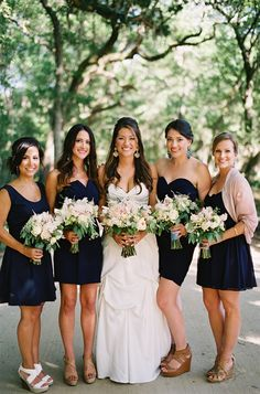 pretty navy bridesmaid dresses   Loren Routhier #wedding