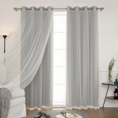 Aurora Home Mix and Match Blackout and Sheer Tulle Lace with Antique Bronze Grommets 4-piece Curtain Set