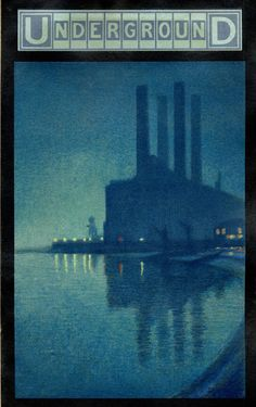 "Lots Road power station as depicted in ""Underground; the moving spirit of London"" poster by Thomas Robert Way, 1910"