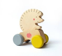 Wooden Push Toy Hedgehog This playful, original designs wooden push toy enhances active play and supports the development of motor skills. It's also a great tool for stimulating the imagination and promoting emotional, social and language development. It is great fun for toddlers &