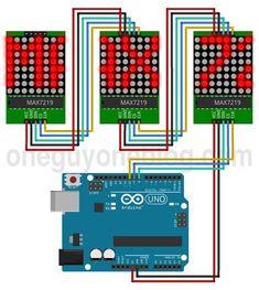 Arduino Uno and 3x MAX7219 8x8 LED matrix module
