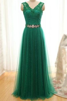 Wide Straps with Beads Appliques V Neck A Line Laced up Back Green Prom Dresses