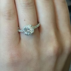 Diamond Halo Quilted Engagement Ring with a 4 prong setting
